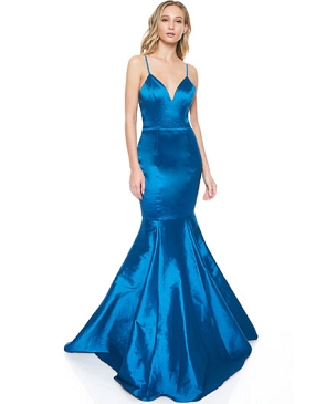 Teal Blue Taffeta Mermaid Evening Dress