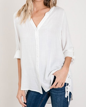 White Linen Button Down Blouse w/Side Ties