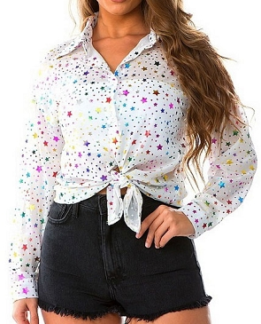 White Button Down Long Sleeve Blouse with Star Print