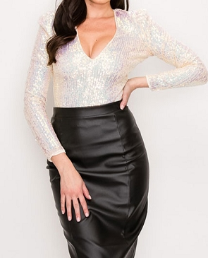 Champagne Long Sleeve Sequins V-Neck Bodysuit
