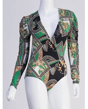 Green Chain Print Long Sleeve Bodysuit
