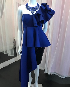 Royal Blue Scuba One Shoulder Hi Low Ruffle Top