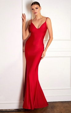 Crystal V-Neck Formal Dress with Open Back-2 Colors