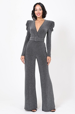 Silver Lurex Long Sleeve Jumpsuit w/Belt