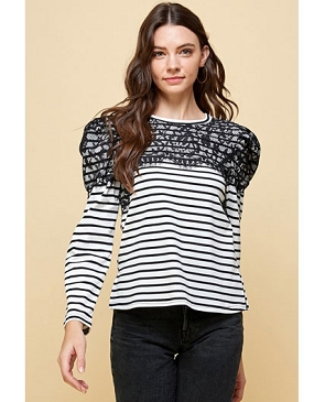 Long Sleeve Striped Tshirt with Lace and Puff Shoulders