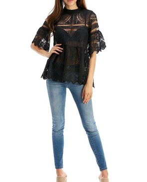 Crochet Lace Bell Sleeve Babydoll Top- 2 Colors