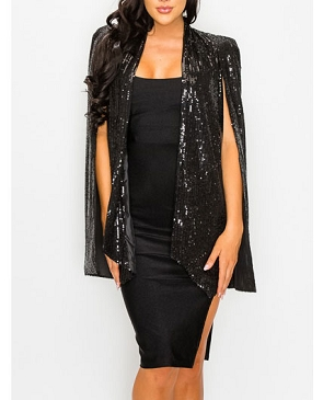 Sequins Cape Jacket- 2 Colors