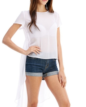 White Chiffon Hi Low Top