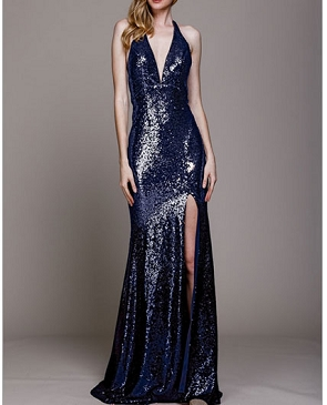 Sequins Halter Evening Dress with Open Back