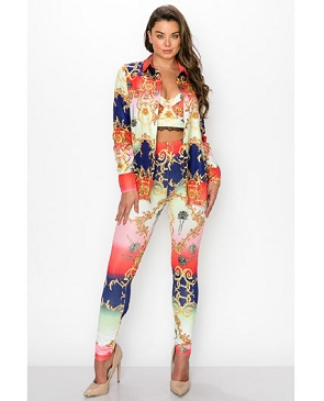 Whimsical Print Bustier, Leggings, and Button Down Shirt Set