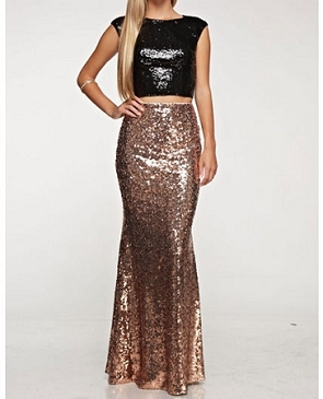 Black Sequins Crop Top