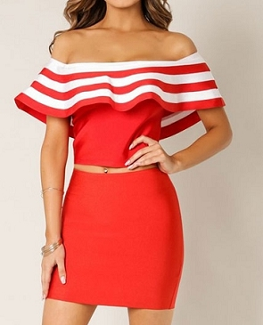 Bandage Off the Shoulder Stripe Ruffle Crop Top- 2 Colors