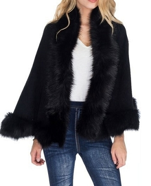 Faux Fur Poncho- 4 Colors