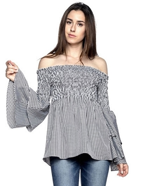 Gingham Blue Off the Shoulder Babydoll Top