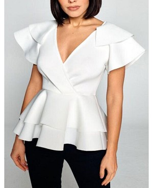 Scuba V-Neck Top with Peplum Ruffle-4 Colors