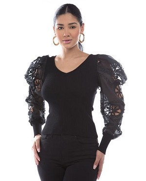 Knit Top with Lace Puff Sleeves- 2 Colors