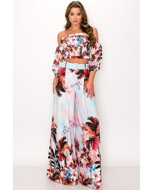 Palm Trees Print Crop Top with Palazzo Pants Set