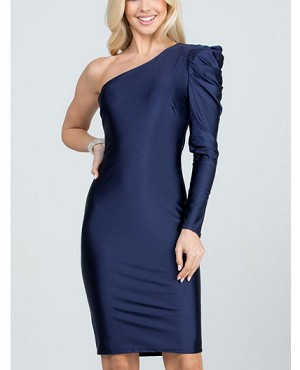 One Shoulder Long Sleeve Cocktail Dress- 2 Colors
