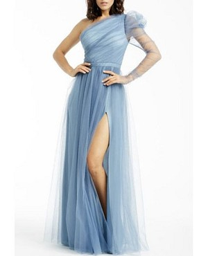 One Shoulder Tulle Evening Dress with Slit- 3 Colors