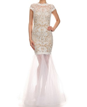 Lace and Tulle Mermaid Gown- 2 Colors