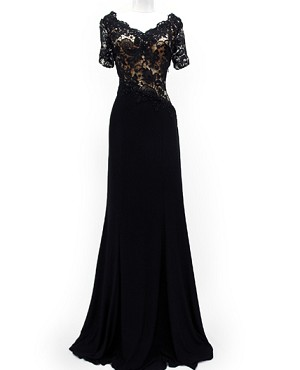 Black Guipure Lace S/L Jersey Formal Dress-Available in Plus Size