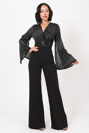 Black V-Neck Jumpsuit w/Silver Sequins & Slitted Bell Sleeves