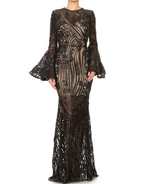 Sheer Sequins Formal Dress w/Long Bell Sleeves- 2 Colors