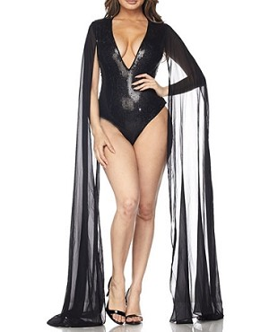 Black Sequins Bodysuit with Chiffon Cape Sleeves